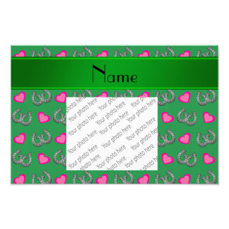 Personalized name green horseshoes pink hearts photo print