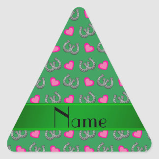 Personalized name green horseshoes pink hearts triangle sticker
