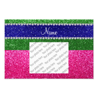 Personalized name green hot pink glitter photograph