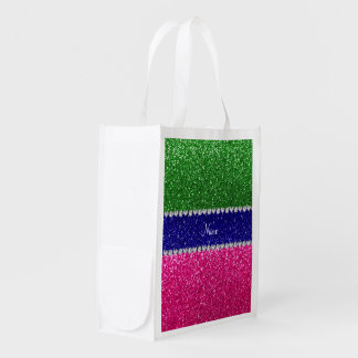 Personalized name green hot pink glitter reusable grocery bag