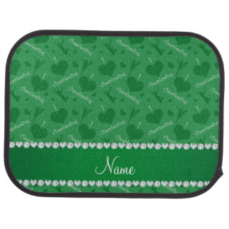 Personalized name green i love cheerleading hearts car mat
