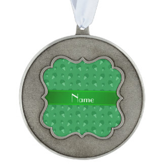 Personalized name green ice cream pattern scalloped ornament