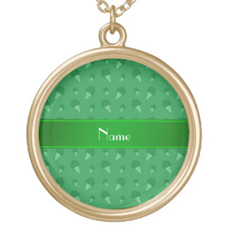 Personalized name green ice cream pattern necklace