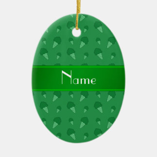 Personalized name green ice cream pattern ornaments