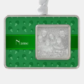 Personalized name green ice cream pattern silver plated framed ornament