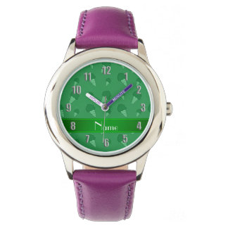 Personalized name green ice cream pattern watch
