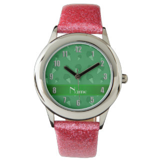 Personalized name green ice cream pattern wrist watches