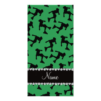 Personalized name green inline skating photo card