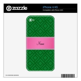 Personalized name green interlocking triangles skin for the iPhone 4S