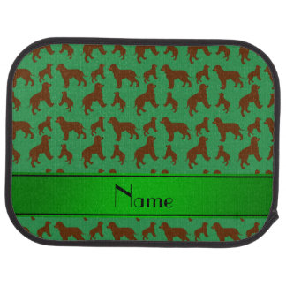 Personalized name green Irish Water Spaniel dogs Car Mat