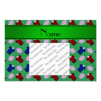 Personalized name green jerseys rugby balls photo