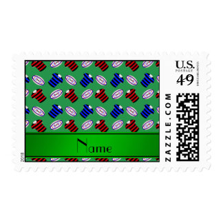 Personalized name green jerseys rugby balls postage stamp
