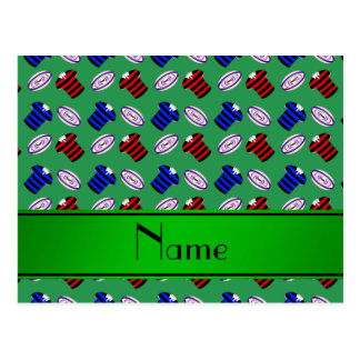 Personalized name green jerseys rugby balls postcards