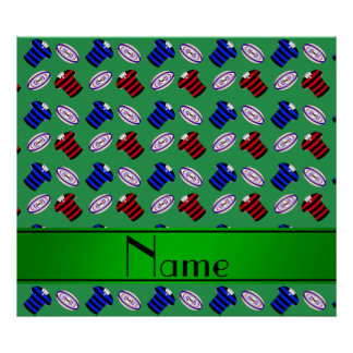 Personalized name green jerseys rugby balls poster
