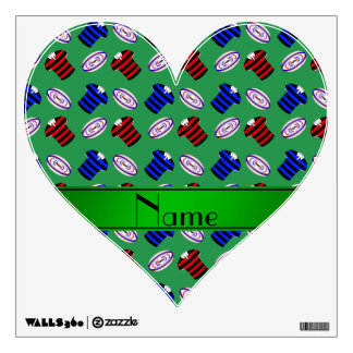 Personalized name green jerseys rugby balls wall graphic