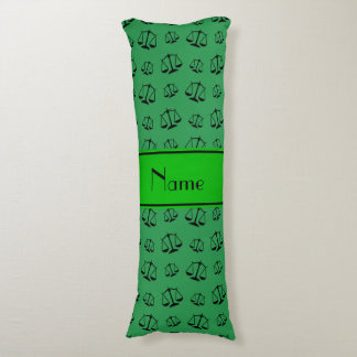 Personalized name green justice scales body pillow