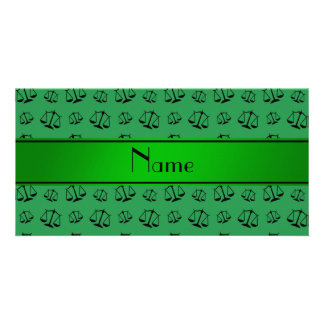 Personalized name green justice scales photo card