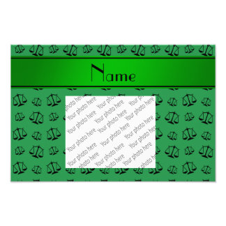 Personalized name green justice scales photo print