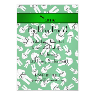 Personalized name green karate pattern magnetic invitations