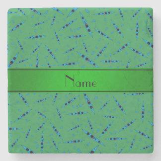 Personalized name green kayaks stone coaster
