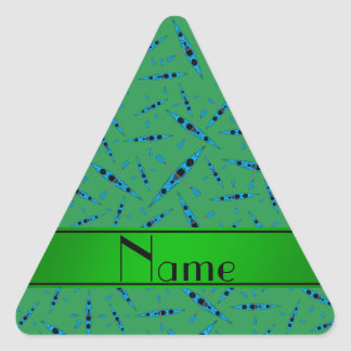 Personalized name green kayaks triangle sticker