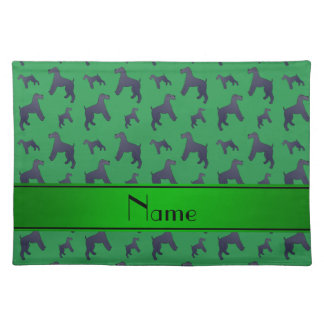 Personalized name green Kerry Blue Terrier dogs Placemat