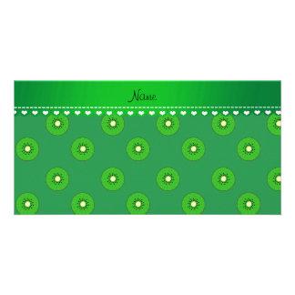 Personalized name green kiwi photo card