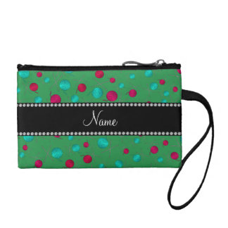 Personalized name green knitting pattern coin purses