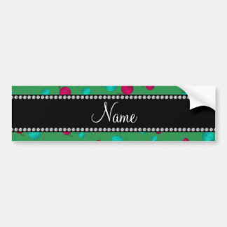 Personalized name green knitting pattern bumper sticker