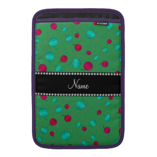 Personalized name green knitting pattern MacBook sleeves