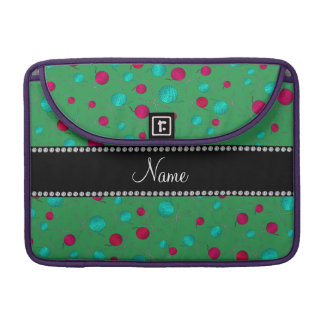 Personalized name green knitting pattern sleeve for MacBook pro