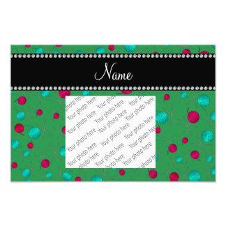 Personalized name green knitting pattern photo print