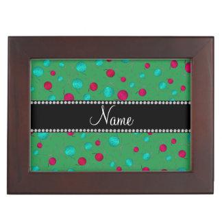 Personalized name green knitting pattern memory box