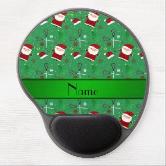 Personalized name green lacrosse christmas pattern gel mousepad