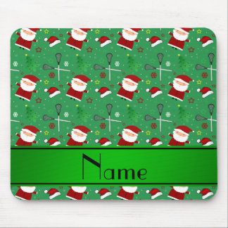 Personalized name green lacrosse christmas pattern mousepad