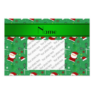 Personalized name green lacrosse christmas pattern photograph