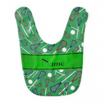 Personalized name green lacrosse pattern baby bib