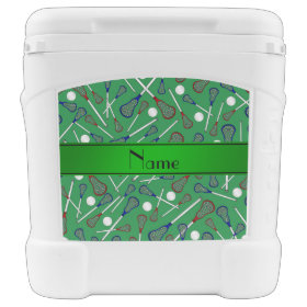 Personalized name green lacrosse pattern igloo rolling cooler