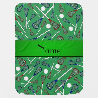 Personalized name green lacrosse pattern receiving blanket