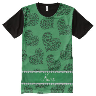 Personalized name green leopard hearts All-Over print t-shirt