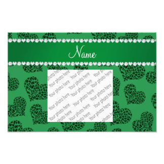 Personalized name green leopard hearts photo print