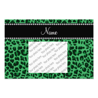 Personalized name green leopard pattern photo print