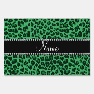 Personalized name green leopard pattern yard sign