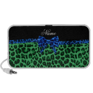 Personalized name green leopard print blue bow PC speakers