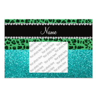 Personalized name green leopard turquoise glitter photo