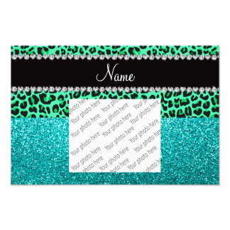 Personalized name green leopard turquoise glitter art photo