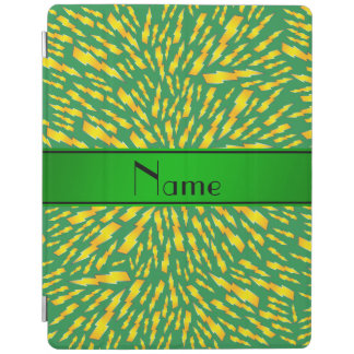 Personalized name green lightning bolts iPad cover