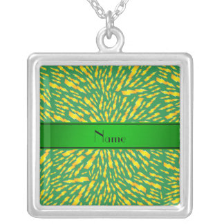 Personalized name green lightning bolts personalized necklace