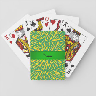 Personalized name green lightning bolts card deck