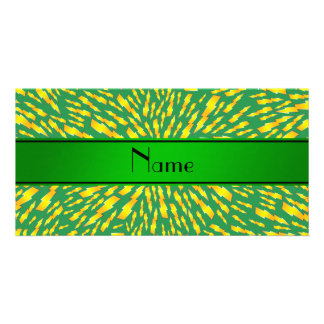 Personalized name green lightning bolts personalized photo card